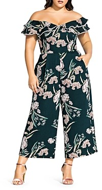 City Chic Plus Fresh Fields Off-the-Shoulder Cropped Jumpsuit