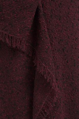 Roland Mouret Marengo Draped Wool-blend Boucle Midi Dress