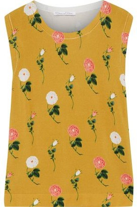 Oscar de la Renta Floral-print Knitted Top