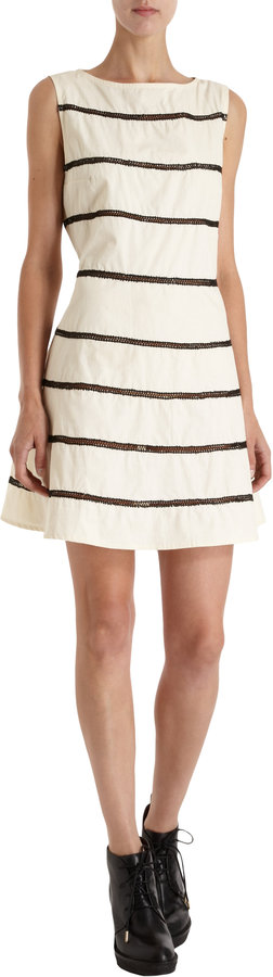 Opening Ceremony Embroidered Stripe Dress