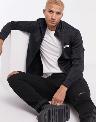 Jack and Jones Core tricot logo zip through sweat jacket in black