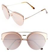 BP Women's 54Mm Round Sunglasses - Gold/ Brown