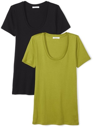 Daily Ritual Women's Midweight 100% Supima Cotton Rib Knit Short-Sleeve Scoop Neck T-Shirt 2-Pack