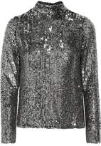 Juan Carlos Obando - Open-back Sequined Tulle Blouse - Metallic