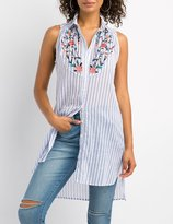 Charlotte Russe Floral Embroidered Button-Up Tunic Top