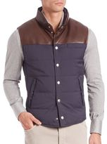 Brunello Cucinelli Half Leather Quilted Vest