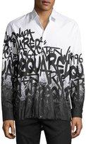 DSQUARED2 Graffiti-Print Button-Down Shirt, White/Black