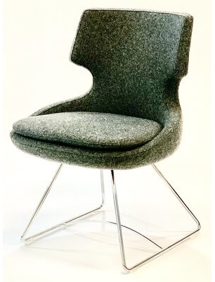 Wrought Studio Wemoorland Twill Metal Wingback Side Chair Upholstery Color: Dark Gray