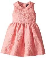 Oscar de la Renta Childrenswear Bubble Flower Jacquard Gathered Sleeve Dress Girl's Dress