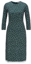 HUGO BOSS - Stretch Jersey Dress With Dot Print And Embroidered Overlay - Patterned