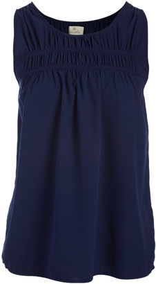 Très Jolie Women's Blouses NAVY - Navy Shirred Yoke Sleeveless Shell - Women