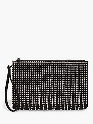 Phase Eight Shae Sparkle Tassel Clutch Bag, Black