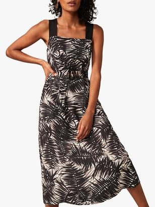 Monsoon Patsy Palm Print Dress, Black/Multi