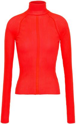 Acne Studios Neon Ribbed-knit Turtleneck Top