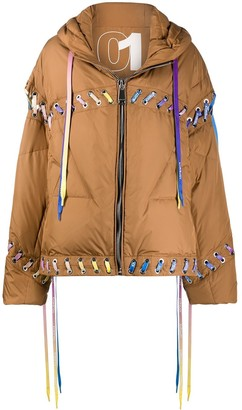 KHRISJOY Oversized Lace-Up Puffer Jacket