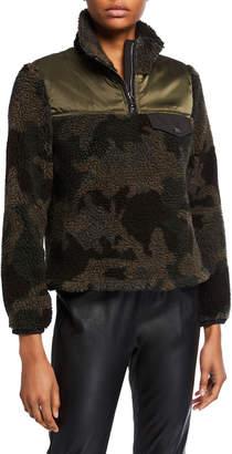 Veronica Beard Kylan Camo-Print Sherpa Pullover