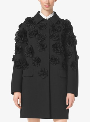 Michael Kors Floral-Embroidered Linen and Canvas Balmacaan