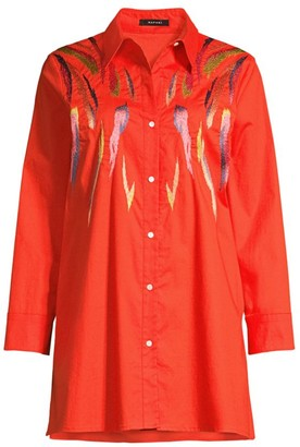 Natori Embroidered Stretch Cotton Tunic Shirt