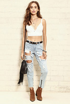 Forever 21 FOREVER 21+ Distressed Zip Boyfriend Jeans