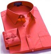 Guytalk Mens Solid Color Regular Fit long sleev Dress Shirts