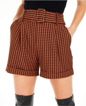 Bar III Becca Tilley x Powersuit Gingham Belted Shorts