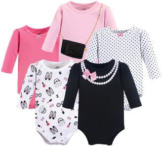 Luvable Friends Girls' Infant Bodysuits Pearls - Black Pearl Necklace Print Bodysuit Set - Infant