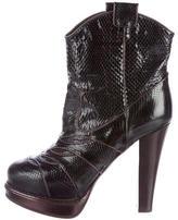 Bottega Veneta Snakeskin Platform Ankle Boots