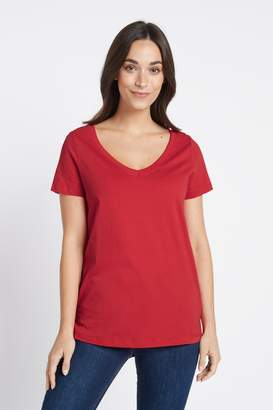 Next Womens Red V-Neck T-Shirt - Red