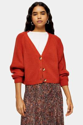 Topshop Womens Brown Knitted Super Cropped Cardigan - Bright Orang