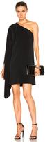 Rosetta Getty One Shoulder Scarf Dress in Black.