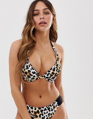 Dorina Jamaica super push up bikini top in animal