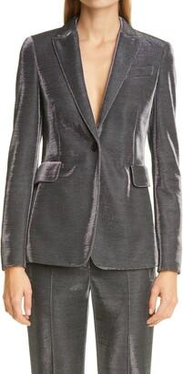Akris Punto Metallic Pinstripe Jersey Blazer