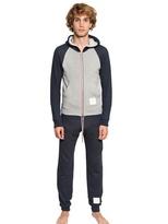 Thom Browne Bicolor Hooded Terry Zip Up Sweatshirt