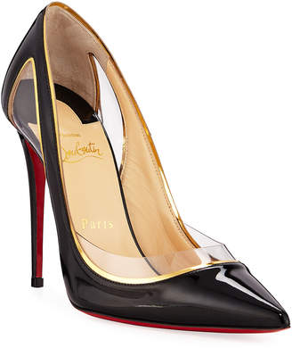 Christian Louboutin Cosmo 554 Patent/Vinyl High-Heel Red Sole Pumps