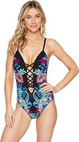 Kenneth Cole New York Women's Tropical Tendencies Push up One Piece Swimsuit