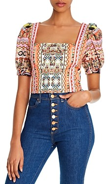 Alice + Olivia Margarite Tie-Front Cropped Top