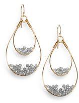 Nunu Grey Wire-Beaded Teardrop Earrings
