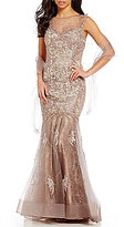 Mon Cheri Ivonne D Embroidered Tulle Trumpet Gown