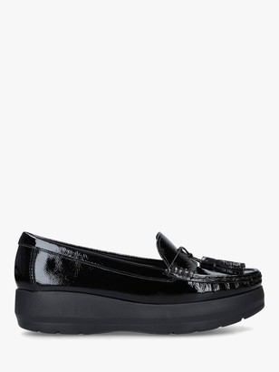 Carvela Comfort Camille Patent Leather Chunky Sole Loafers, Black