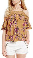 Jolt Floral Printed Cold Shoulder Crochet Trim Top