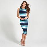 Apricot Aqua Navy & Cream Stripe Pattern Midi Skirt
