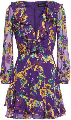 Saloni Jodie Ruffle-trimmed Floral-print Devore-velvet Mini Dress