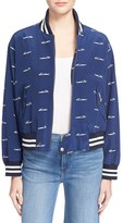 Sea Women's Fish Print Silk Bomber Jacket