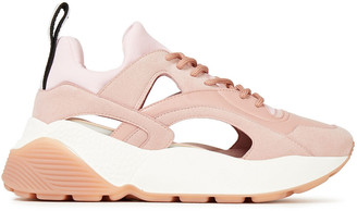 Stella McCartney Cutout Neoprene, Faux Leather And Suede Sneakers