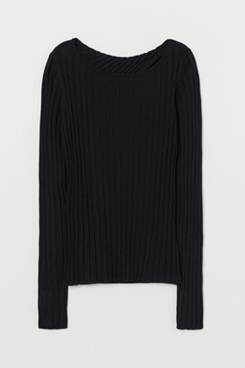 H&M Wrapover-back Sweater - Black