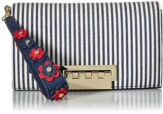 Zac Posen Earthette Clutch-Striped w/Floral Applique on Wristlet