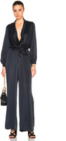 Zimmermann Suede Silk Wrap Jumpsuit