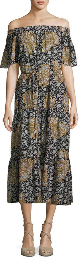 A.L.C. Doris Off-the-Shoulder Printed Midi Dress, Multi