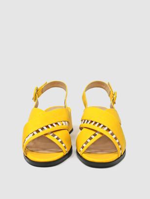 Sylven SIMONE Lemon/White Vegan Nappa Cross-Band Sandal