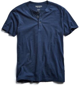 Todd Snyder Made in L.A. Slub Jersey Short Sleeve Henley in Navy